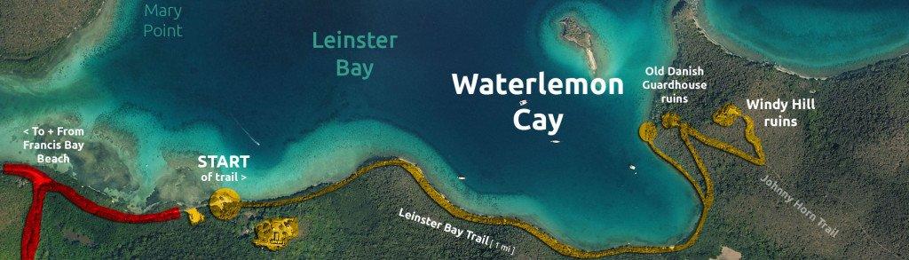 Map of Waterlemon Cay, St John, US Virgin Islands National Park.