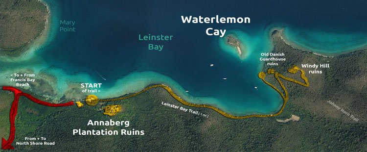 Leinster Bay Trail to Waterlemon Cay map